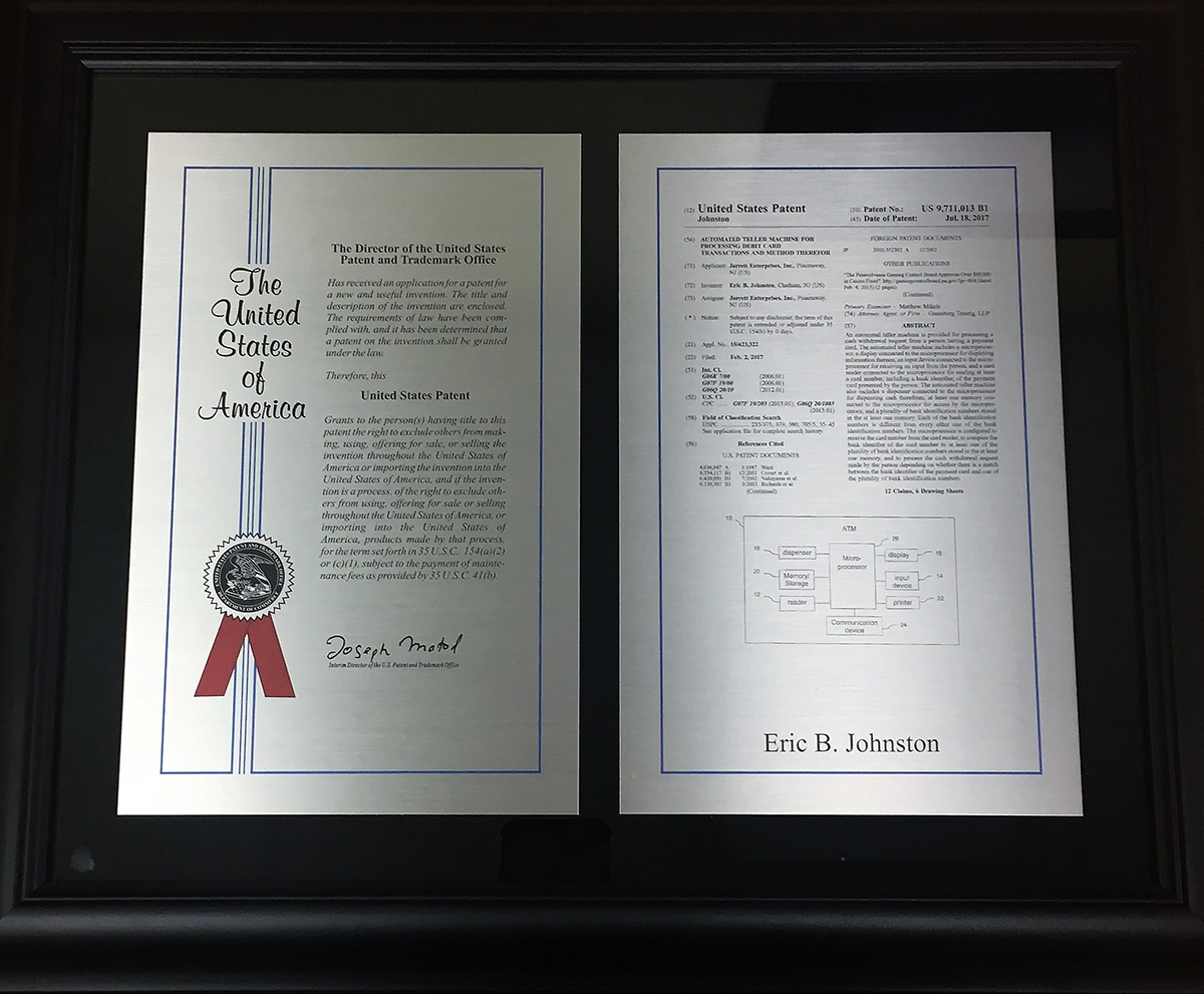 Image of Jarrett For Cash's new patent